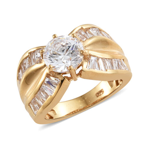 J Francis - 14K Gold Overlay Sterling Silver (Rnd) Ring Made With SWAROVSKI ZIRCONIA  Silver wt 6.35 Gms.