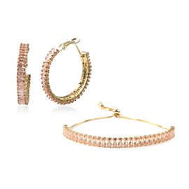 2 Piece Set - Simulated Champagne Diamond Adjustable Bolo Bracelet (Size 6-9) and Earrings (with Cla