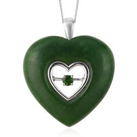 49.05 Ct Green Jade and Russian Diopside Heart Pendant with Chain in Rhodium Plated Silver 18 Inch