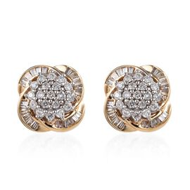 9K Yellow Gold SGL Certified Diamond (G-H/I3) Earrings (with Push Back) 0.50 Ct.
