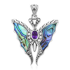 Bali Legacy Collection - Amethyst and Abalone Shell Butterfly Pendant in Sterling Silver, Silver wt