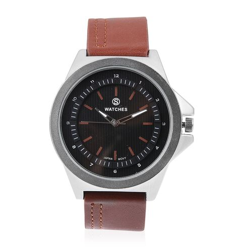 STRADA Japanese Movement Water Resistant Silver Plated Watch with Black Dial and Dark Brown Colour S