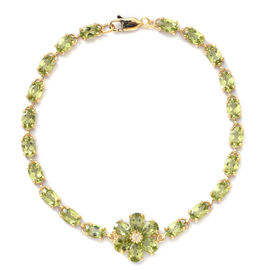 Hebei Peridot (Ovl and Pear), Natural Cambodian White Zircon Floral Bracelet (Size 7.75) in Yellow Gold Overlay Sterling Silver 11.600 Ct, Silver wt 7.00 Gms.