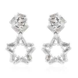 0.75 Ct Diamond Star Drop Earrings in Platinum Plated Sterling Silver