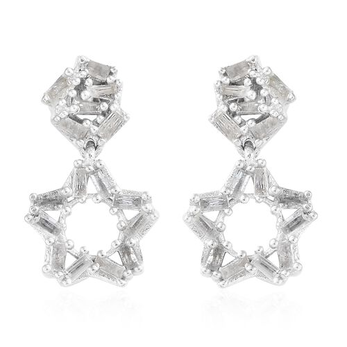 Diamond (Bgt) Star Earrings (with Push Back) in Platinum Overlay Sterling Silver 0.750 Ct.