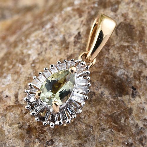 ILIANA 18K Yellow Gold AAA Green Tanzanite (Pear), Diamond (SI G-H) Pendant