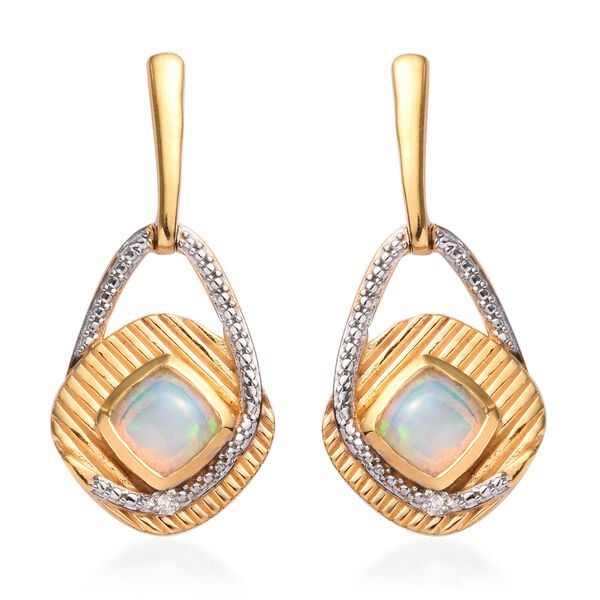 Ethiopian Welo Opal and Diamond Earrings (with Push Back) in 14K Gold and Rhodium Overlay Sterling S