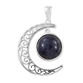 Blue Sandstone (Rnd) Crescent Moon Pendant in Sterling Silver Silver wt 4.25 Gms.
