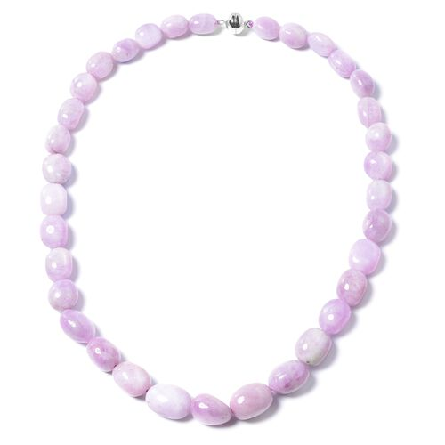 AAA Kunzite Necklace Size 20 in Platinum Plated Silver with Magnetic Clasp