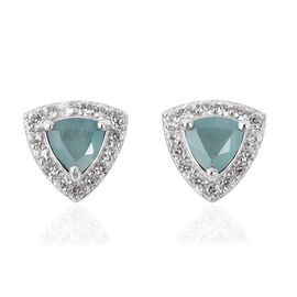 Grandidierite (Trl), Natural White Cambodian Zircon Earrings (with Push Back) in Rhodium Overlay Ste