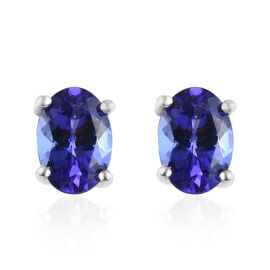 RHAPSODY 950 Platinum AAAA Tanzanite (Ovl) Stud Earrings (with Screw Back) 1.65 Ct.
