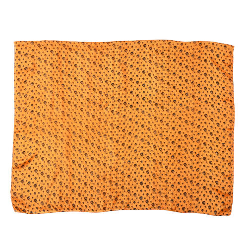 Close Out Deal- 100% Mulberry Silk Skull Pattern Scarf (Size 175x105 Cm) - Orange