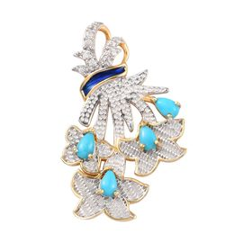 Arizona Sleeping Beauty Turquoise and Natural Cambodian Zircon Enamelled Flower Bouquet Pendant in P