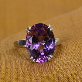 Moroccan Amethyst Solitaire Ring in Platinum Overlay Sterling Silver