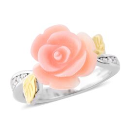 Pink Mother of Pearl (5.25 Ct),White Zircon Sterling Silver Ring  5.400  Ct.