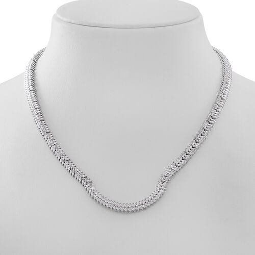Designer Inspired- Simulated White Diamond (Mrq) Necklace (Size 17) in Rhodium Plated Sterling Silver, Silver Wt 36.10 Gms.