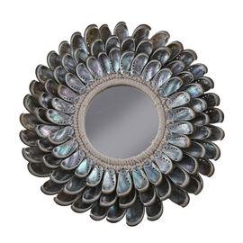 Bali Collection - Home Decor Mirror with Multicolour Mata Tuju Seashell Frame (Size 40 Cm)