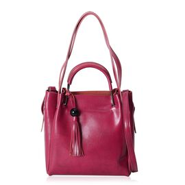 Close Out Deal High Glossed 100% Genuine Leather Fuchsia Colour Tote Bag with Tassels (Size 29x27x11