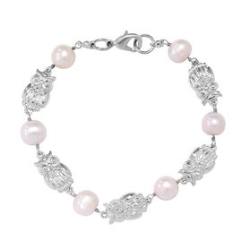 Freshwater Pearl and Owl Bracelet (Size 7.5) in Platinum Plated