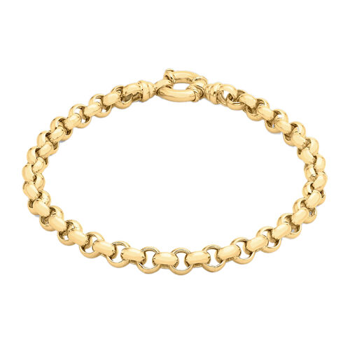 Hatton Garden Close Out 9K Yellow Gold Belcher Bracelet (Size 7.5) with Senorita Clasp, Gold wt. 8.4