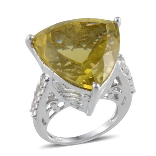 Natural Green Gold Quartz (Trl 25.00 Ct), White Topaz Ring in Platinum Overlay Sterling Silver 25.750 Ct.