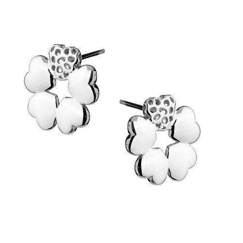 RACHEL GALLEY Rhodium Plated Sterling Silver Heart Flower Stud Earrings (with Push Back), Silver wt 6.50 Gms.