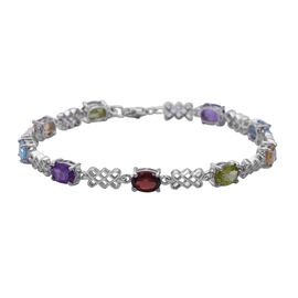Sky Blue Topaz (Ovl 7x5 mm), Citrine, Rhodolite Garnet and Multi Gemstone Bracelet (Size 7.5 with Ex