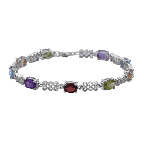 7 Ct Sky Blue Topaz And Multi Gemstone Bracelet in Rhodium Plated Silver 7.5 Inch With Extender