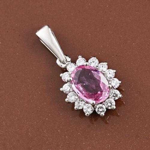 RHAPSODY 950 Platinum 1 Carat AAAA Pink Sapphire Halo Pendant with Diamond VS E-F