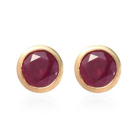 AA African Ruby Stud Earrings (with Push Back) in 14K Gold Overlay Sterling Silver 1.50 Ct.