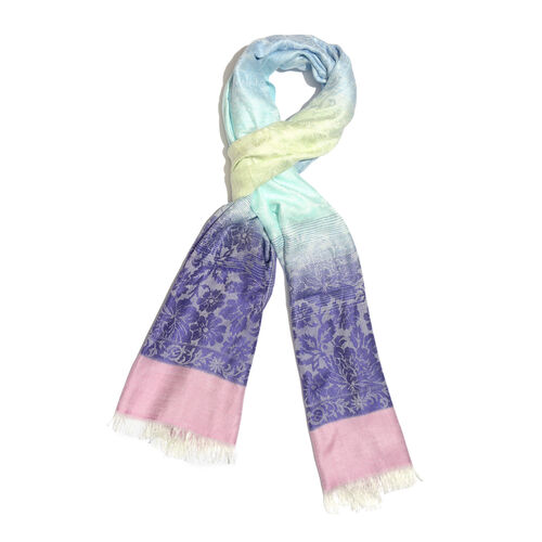 Purple, Pink and Multi Colour Floral Pattern Reversible Scarf with Fringes (Size 180X70 Cm)