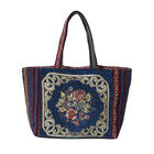 Floral Pattern Tote Bag with Zipper Closure in Navy and Multi Colour (Size 35x11x21cm)