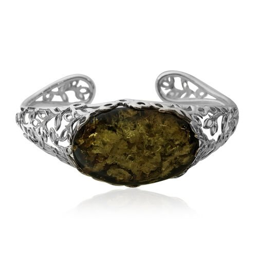 Signature Collection- Baltic Green Amber (Ovl 32x21mm) Cuff Bangle (Size 7) in Sterling Silver 25.00