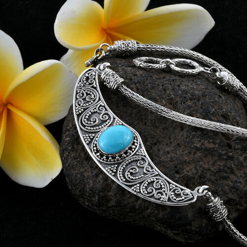 Limited Edition-Royal Bali Collection Rare Size Sleeping Beauty Turquoise (Ovl 12x10mm) Necklace (Size 18) Sterling Silver 3.82 Ct, Silver wt 24.21 Gms.