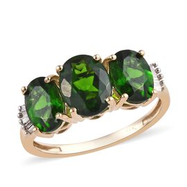 9K Yellow Gold Russian Diopside (Ovl), Diamond Ring 3.150 Ct.