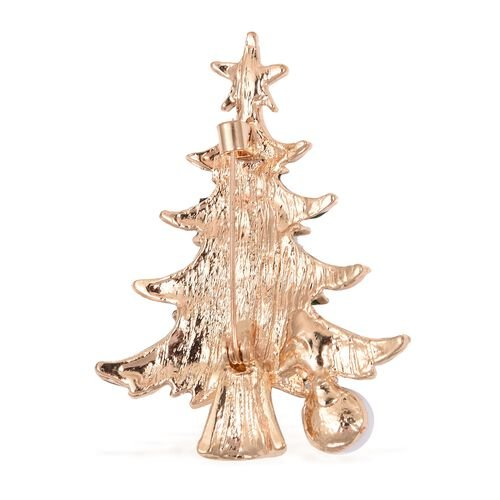 Multi Colour Austrian Crystal (Rnd), Simulated Pearl Christmas Tree Brooch in Gold Tone