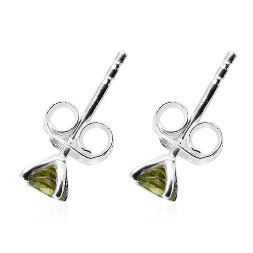 3 Piece Set - Simulated Peridot Solitaire Ring, Pendant and Stud Earrings in Sterling Silver (with Push Back)