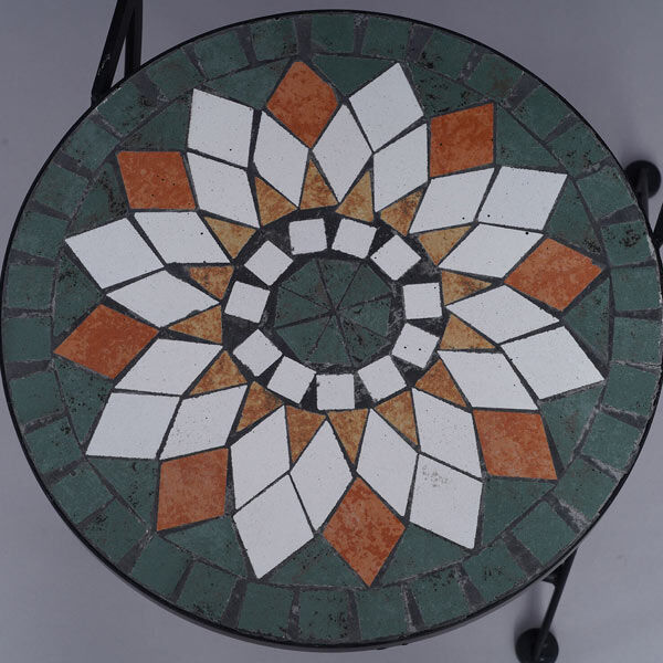 3 Piece Set - Geometric Shape Pattern Mosaic Bistro Set Table (Size:60x60x70Cm) and 2 Chairs (Size:39x44x90Cm) - Multi