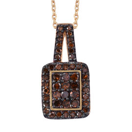 Red Diamond (Rnd) Pendant with Chain (Size 20) in Black and 14K Gold Overlay Sterling Silver 0.330 C