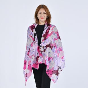 LA MAREY 100% Wool Floral Pattern Scarf (Size 67x190Cm) - Fuschia