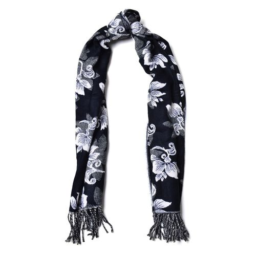 White Colour Floral Pattern Black Colour Scarf with Tassels (Size 180x65 Cm)