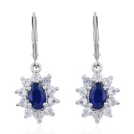 1.33 Ct Blue Spinel and Cambodian Zircon Earrings in Platinum Plated Sterling Silver With Lever Back