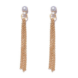Freshwater Pearl and Cambodian Zircon Dangle Earrings in Gold Plated Sterling Silver 4.39 Grams