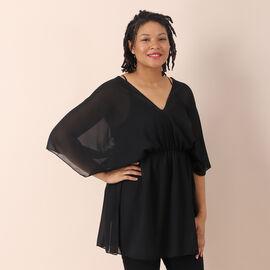 JOVIE Chiffon Top with V Shape Neck (Size 82x45 Cm) - Black