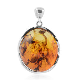 Baltic Amber Pendant in Sterling Silver, Silver wt 15.00 Gms
