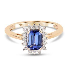 9K Yellow Gold Tanzanite and Diamond Halo Ring 1.20 Ct.