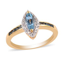 Santamaria Aquamarine and Natural Cambodian Zircon Ring in 14K Gold Overlay Sterling Silver 1.15 Ct.
