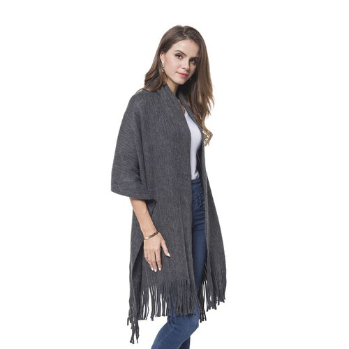 Italian Designer Inspired - Dark Grey Colour Stripes Pattern Knitted Scarf with Tassels (Size 180X65 Cm)
