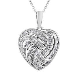 GP Diamond (Rnd), Kanchanaburi Blue Sapphire Heart Pendant With Chain (Size 20) in Platinum Overlay Sterling Silver 0.350 Ct.