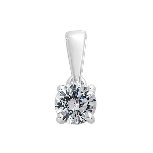 9K White Gold SGL Certified Diamond (Rnd) (I3/G-H) Solitaire Pendant 0.500 Ct.